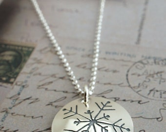 Winter Snowflake Necklace in Sterling Silver - Custom, Hand Drawn Snowflake Design by Eclectic Wendy Designs - Jewelry Gifts for Her