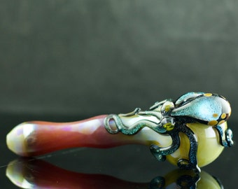 Octopus Large Glass Spoon Pipe / Dichroic Glass Pipe / Quality / Hand Blown / Pyrex Pipe / Caramel & Diamond Tical / Ready to Ship #456