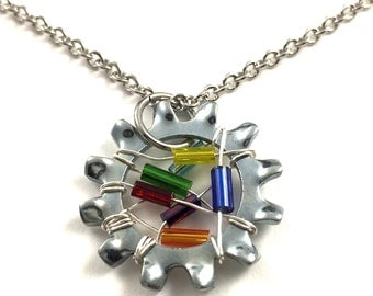 Steampunk Statement Necklace Pendant Wire Wrapped Multi Color Beaded Hardware Jewelry Industrial Star Washer