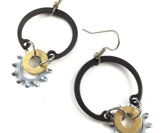 Hoop Dangle Earrings Drop Hardware Jewelry Industrial Brass Washer
