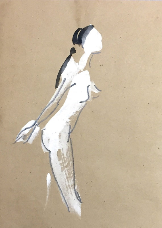 Nude painting of One minute pose 97.8 - Original painting by Gretchen Kelly