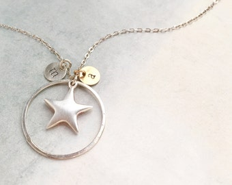 Star Initial Necklace, Personalized Mothers day gift, two tone silver gold, kids Initial, monogram, mom gift, star and sun necklace