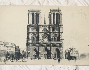 Antique French Postcard Paris Notre Dame Late 1800's Early 1900's Souvenir Collectible Junk Journal Mixed Media Craft Supplies Scrapbooking