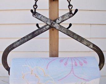 PAPER TOWEL HOLDER REcycled from an antiQue Ice Tongs- silver/black/brown+ Bonus roll Bounty Basics Paper Towels--Ugot2C