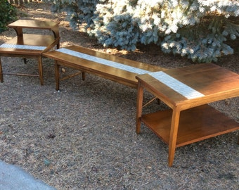 Mid Century Coffee Table and End Tables - Lane Tile Coffee Table - Lane Tile End Tables - Lane Coffee Table - Free Delivery
