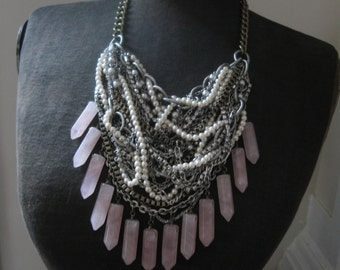 Rosie Was A Rocker - Mixed Metal and Rose Quartz Bib Statement Necklace Tangled and Deconstructed with Pearl and Rhinestones