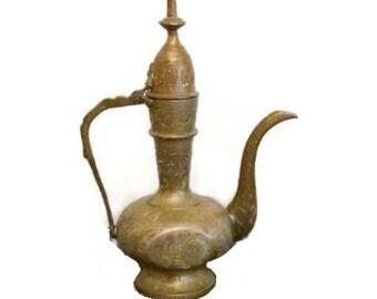 Incised brass oil vessel - India - 1970s - Boho - Genie bottle