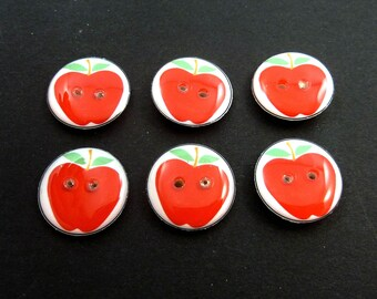 6  Red Apple Buttons. Handmade Buttons. Fruit Sewing Buttons. Choose Your Size. Great for Crochet or Knitting.