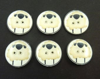"6 Handmade Primitive Sheep Sewing Buttons.   3/4"" or 20 mm Round."