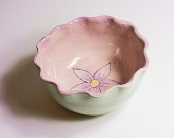 Small Lavender Ruffle Bowl Hand Painted with a Flower