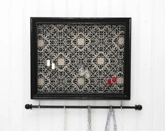 Jewelry Holder- Black Framed Jewelry Organizer- Upcycled 8x10 Picture Frame