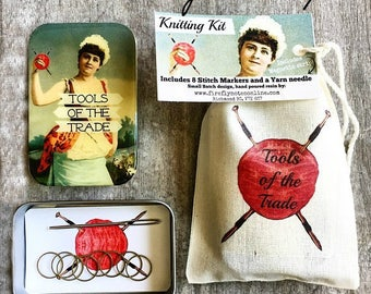 Knitting Kit, notions tin, Tool kit for knitters, knit gift