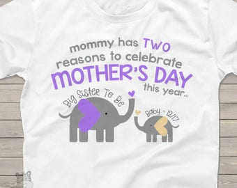 Mother's Day big sister to be tshirt - adorable elephants mommy has two reasons to celebrate pregnancy announcement shirt MMGA1-058