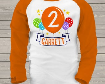 Birthday balloons personalized kids birthday raglan shirt MBD-015-R