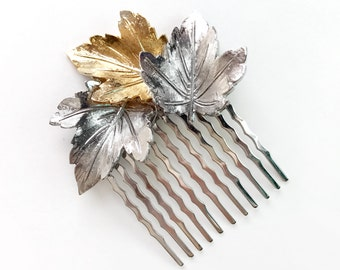 Hair Comb - Leafy Gold and Silver Hairpiece - Bridal Hair Comb - Vintage Style Hair Piece - Nature Outdoor Wedding - Two Tone