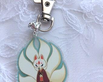 Kitsune Ninetails Fox Acrylic Charm Keychain