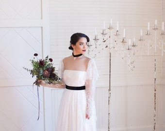 Ellie, Lace wedding gown with illusion neckline, haunted beauty
