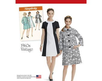 Retro 1960's Vintage Dresses & Coat Pattern, Simplicity 1197 Sewing Pattern - New UNCUT - Size: 6 -8 -10 -12 -14 or 16 -18 -20 -22 -24