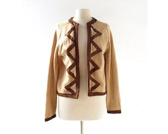 Vintage 60s Sweater | Camel Cardigan | Open Cardigan | Suede Trim | Medium M