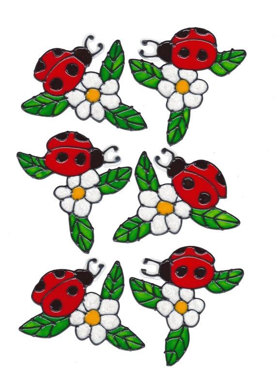 Ladybug And Flower Window Cling Set