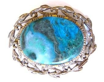 Vintage Boho Turquoise and Gold Filigree Brooch