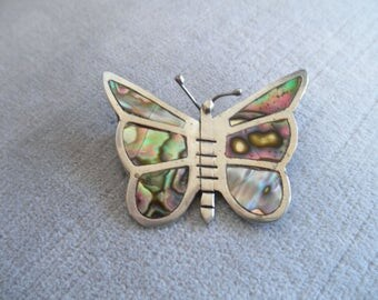 Think Spring...  Vintage Mexican Silver Figural Butterfly Brooch, Beautiful Abalone Inlay