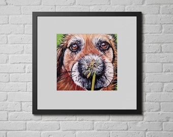 CHOW Art, Dog Print, Chow Dog Wall Art, Gifts for Dog Lovers, Dandelion, Chow Chow, 8x8""