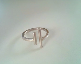 Sterling Silver Double Bar Ring, Two parallel bars open ring, Adjustable Sterling Silver Ring, Minimalist Ring, Geometric Ring