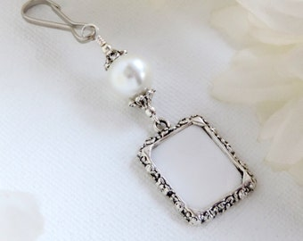 Wedding bouquet charm. White shell pearl photo charm. Bridal shower gift for the bride.