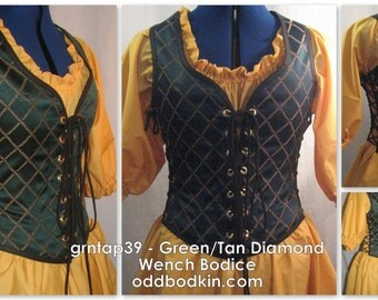 Odd Bodkin Wench Bodice in Green/Tan Diamond Brocade - Made to Order - grntap39