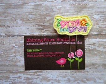 """Easter Paper Clips - Light Yellow """"Spring Has Sprung"""" With An Orange Flower Felt Paperclip Or Bookmark - Spring Holiday Accessory For Girls"""