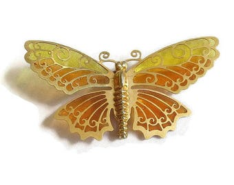 Plique a Jour Orange and Yellow Enamel Butterfly Brooch Vintage signed Avon