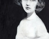 black and white painting of a young woman / Original acrylic painting of a woman