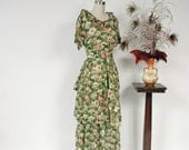 Vintage Edwardian Dress - c.1916 Semi Sheer Cotton Three Piece Summer Dress in Moss Green with Climbing Poppies Print and Obi Style Ties