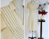 Vintage 1940s Dress - Gorgeous Buttercream Studded Rayon Crepe 40s Cocktail Dress with Faceted Brass Studs