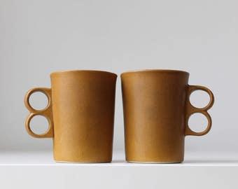Bennington Potters Trigger Mugs, Pair of Bennington Mugs, Vermont Pottery Coffee Mugs, David Gil Design, Bennington Pottery Trigger Mugs
