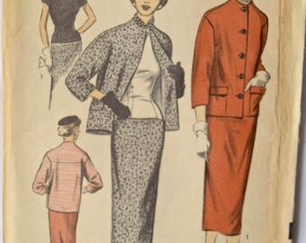 "Vintage Late 40's Early 1950s Sewing Pattern Advance 6179 Pencil Skirt Fitted Blouse and Collarless Jacket UNCUT Factory Folds 30"" Bust"