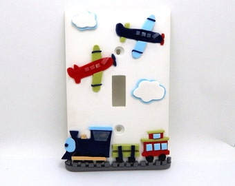 Train and Airplane Children's Light Switch Cover and Outlet Cover - Transportation Light Switch Cover - Airplane Nursery - Train Nursery