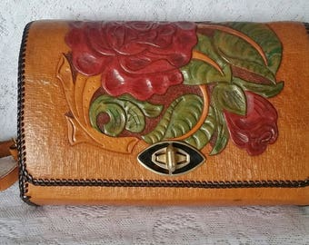 Tooled Leather Handbag, Beautiful Vintage Purse with Red Roses and Green Leaves