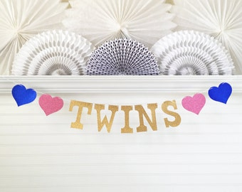 Glitter Twins Banner - 5 inch Letters - Twin Baby Shower Decorations The Twins Garland It's Twins Party Twin Boys Twin Girls Baby Banner