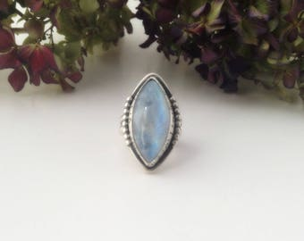 rainbow moonstone ring-sterling silver ring-marquise ring-moonstone blue flash-cocktail ring, size 6.5-artisan ring-moonstone jewelry