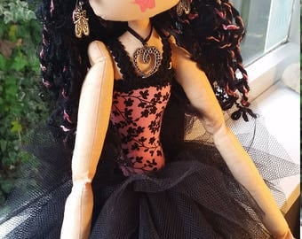 Cloth Art Doll - Zoe - A Ballerina - black and pink