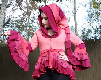 Sale- Pink Bustle Coat- Upcycled Sweater Coat with a Medieval Liripipe Hood and Bell Sleeves- by SnugglePants