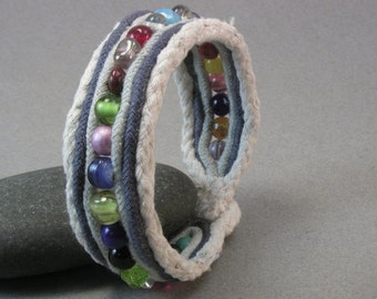 beaded cuff bracelet rainbow color one button cuff cord fabric multicolored beaded bracelet 3804