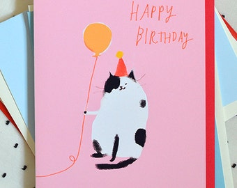Bday Pink Cat Card - Happy Birthday Card