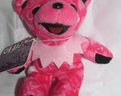 "Deadhead Jerry Garcia Lil Heart Bear Cub Pink With Heart Pattern Bean Bear Liquid Blue Teddy Bear 5"" Groovy Gift"
