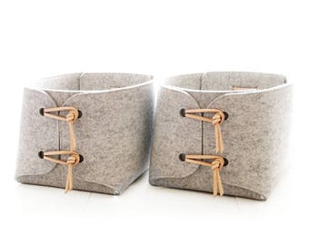 Storage Baskets with natural Leather details - Two large storage baskets - storage bins - storage box - minimalist felt laundry hampers