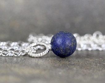 Matte Lapis Pendant - Rustic Lapis Lazuli Necklace - Sterling Silver Layering Necklace - Blue Gemstone Pendant