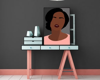 "Modern, Minimal Portrait ""Mia"" by Jules Tillman - Fine Art Lustre Print minimal woman abstract portraiture African American peach aqua black"
