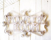 Powder Room Sign, Metal Bathroom Sign, French Decor, Bath Decor, Powder Room Decor, French, Shabby Chic, Bathroom Sign, Light Pink